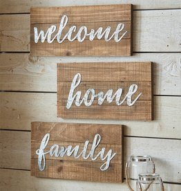 MUD PIE WOOD AND METAL SCRIPT PLAQUE