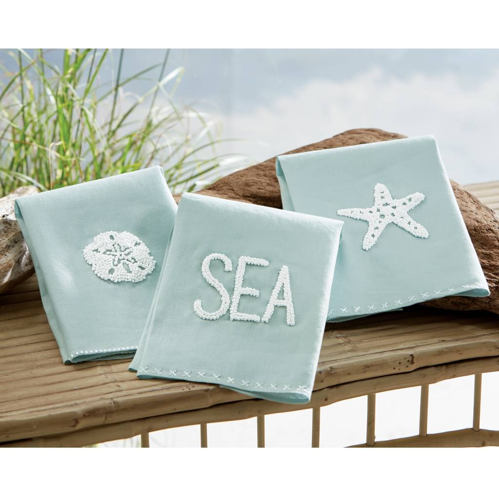 MUD PIE SEAFOAM FRENCH KNOT TOWEL
