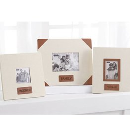MUD PIE FAMILY LINEN AND LEATHER FRAME