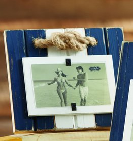 MUD PIE BLUE & WHITE ROPE KNOT FRAME SMALL