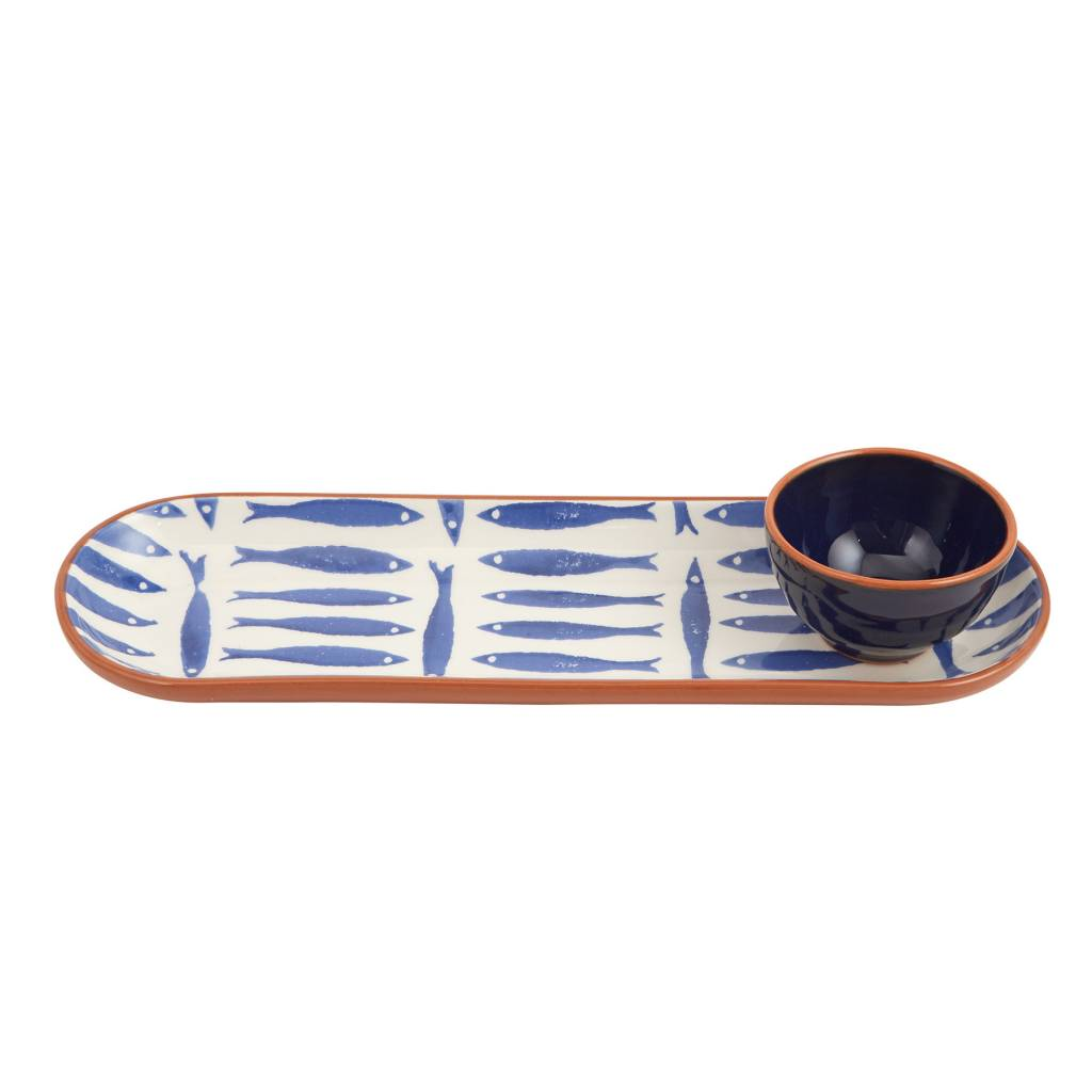 MUD PIE BLUE FISH TRAY WITH BOWL