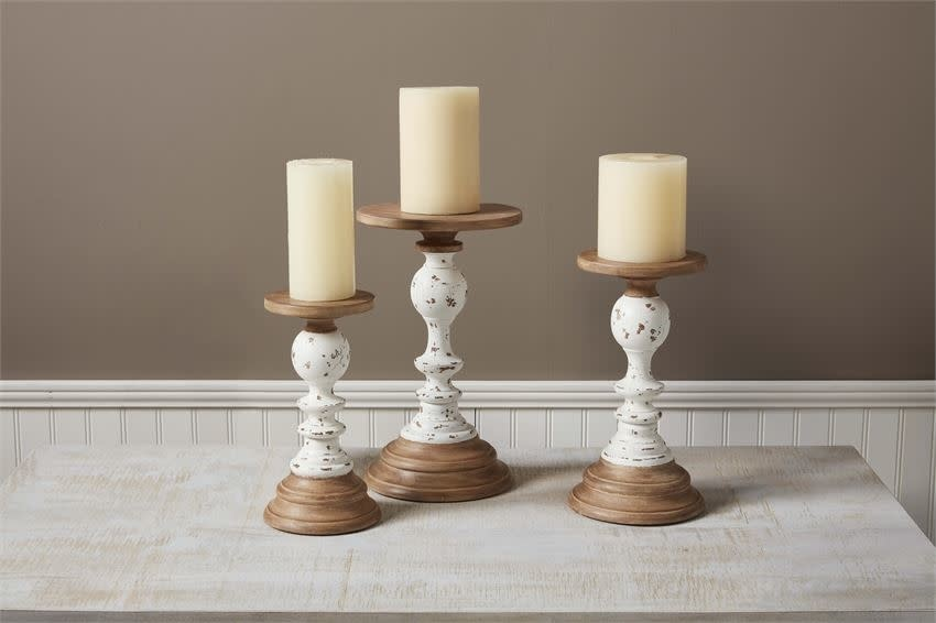 MUD PIE TWO-TONE RUSTIC CANDLESTICK