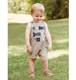 MUD PIE FISH STACKED CHAMBRAY SHORTALL