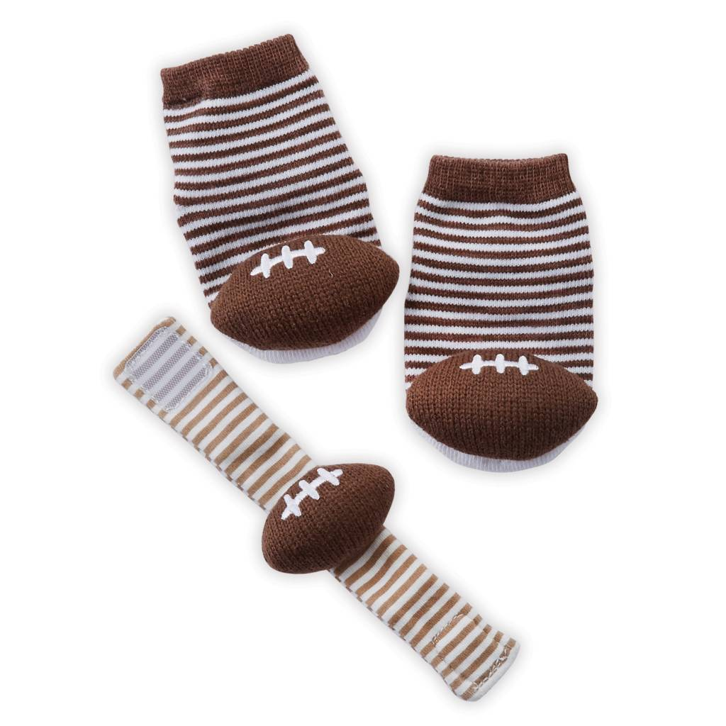 MUD PIE FOOTBALL WRIST RATTLE SOCK SET