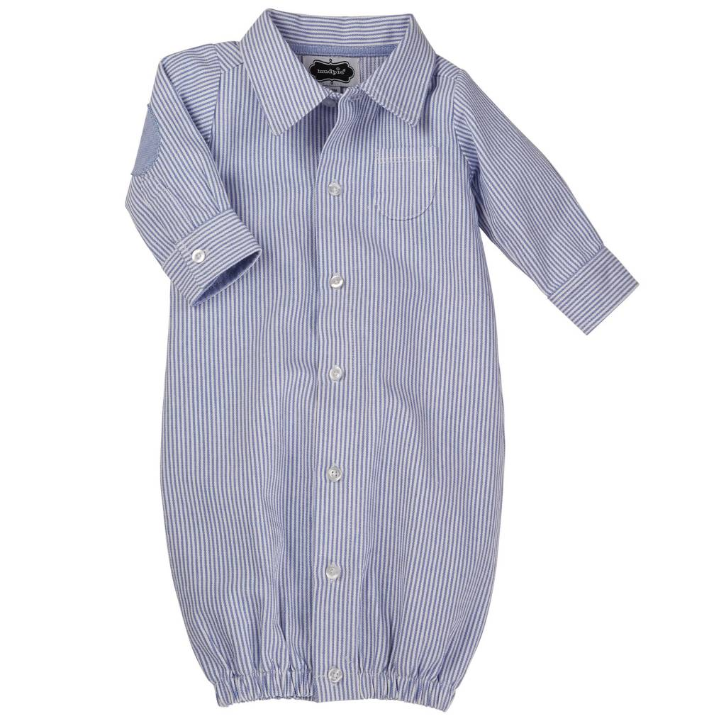 MUD PIE OXFORD CONVERTIBLE GOWN 3-6 MONTHS