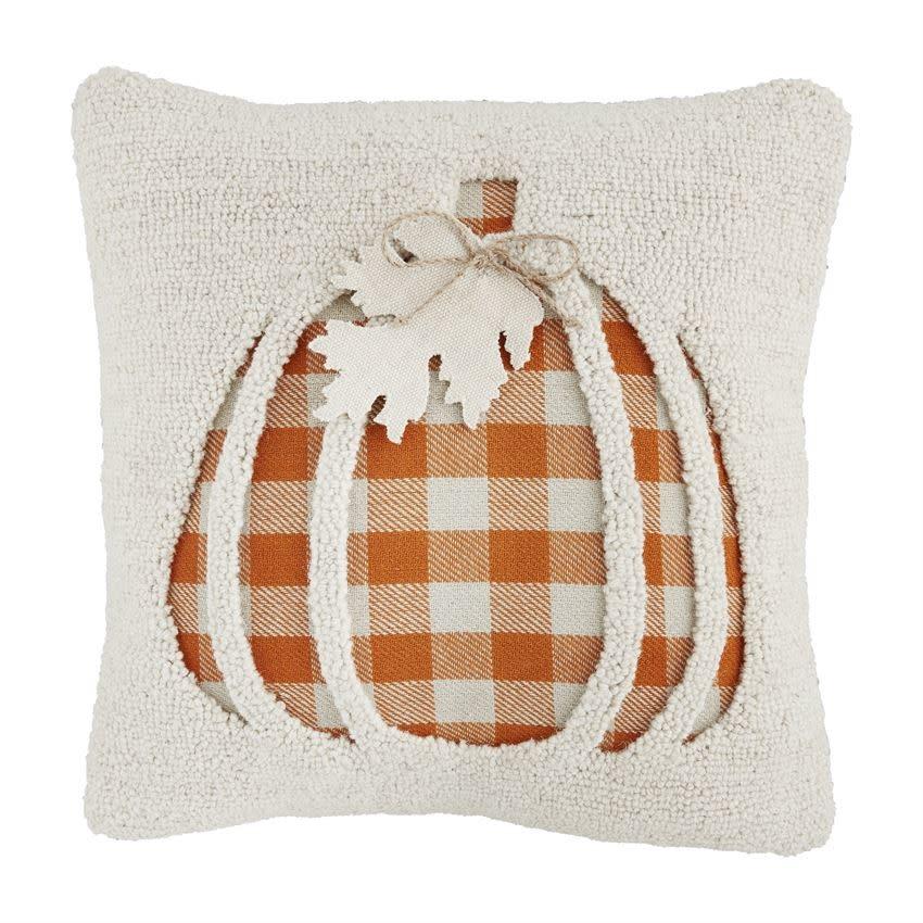 MUD PIE Pumpkin Hooked Pillow