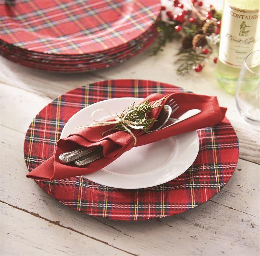 MUD PIE Tartan Christmas Charger Plate
