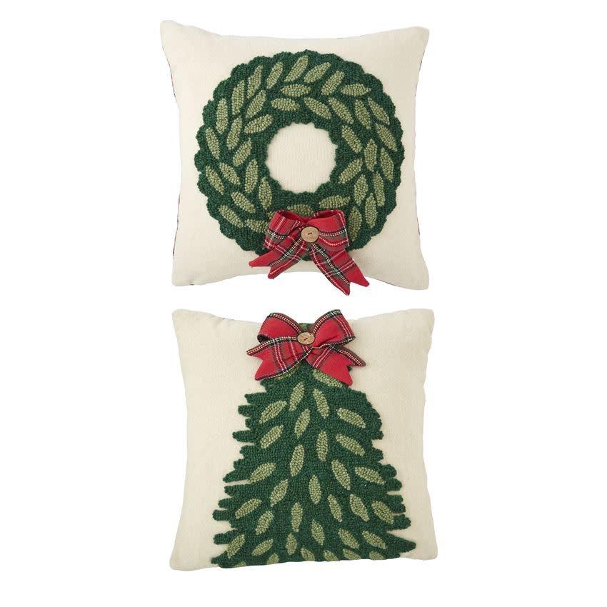 MUD PIE Tartan Hooked Pillow