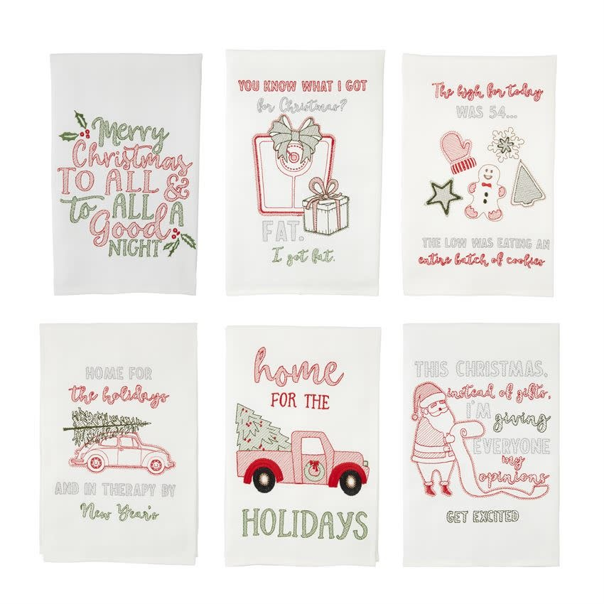 MUD PIE Holiday Embroidery Towels