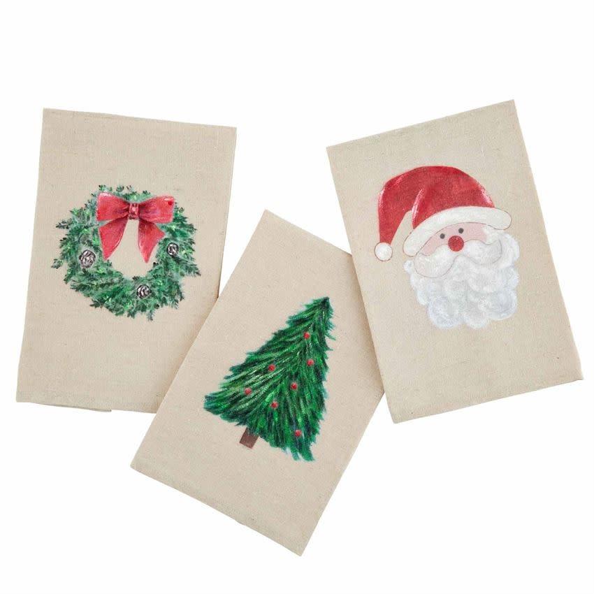 MUD PIE Christmas Painted Tea Towels