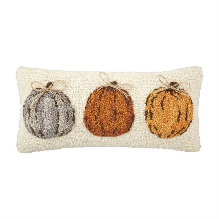 MUD PIE Pumpkin Trio Hooked Pillow
