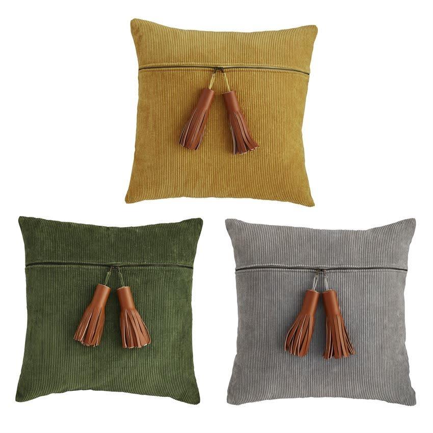MUD PIE Corduroy Zipper Pillows