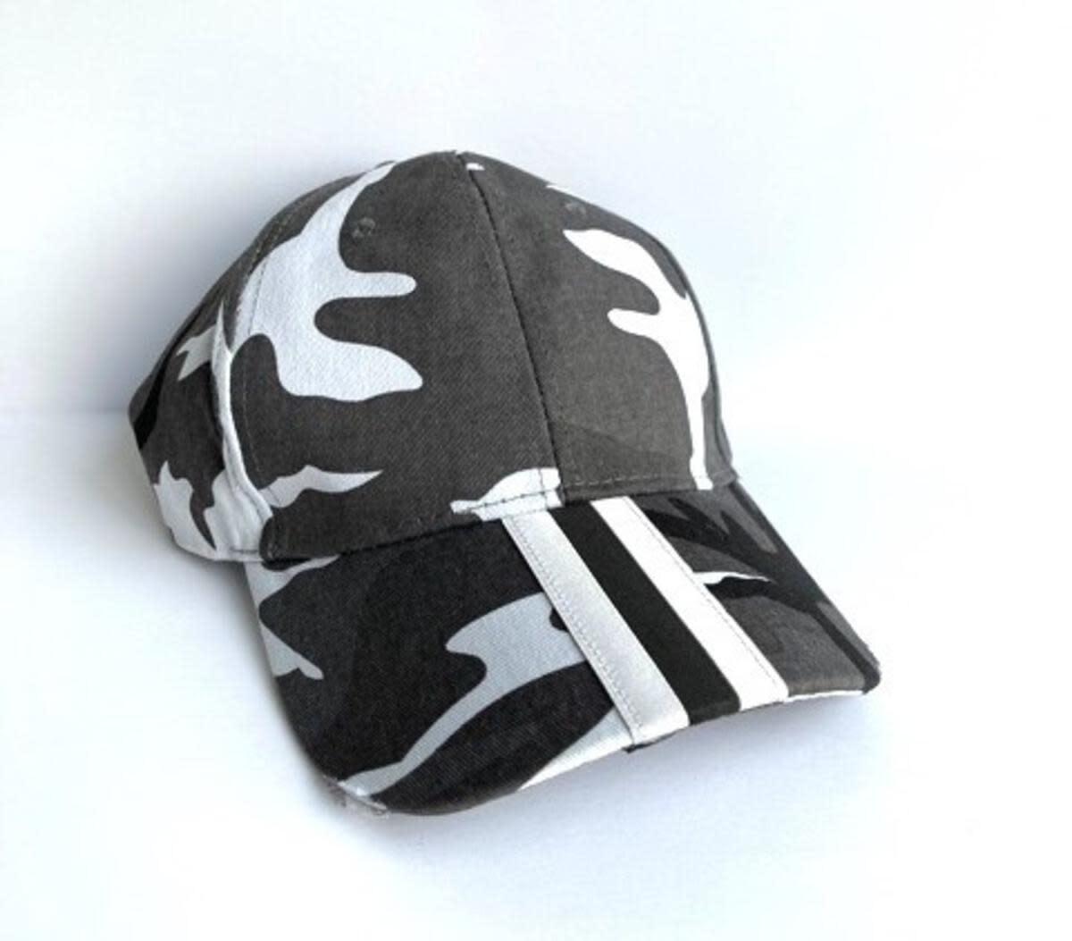 HAUTE SHORE HAUTE HAT-BOARDWALK GRAY CAMO white/blk stripe