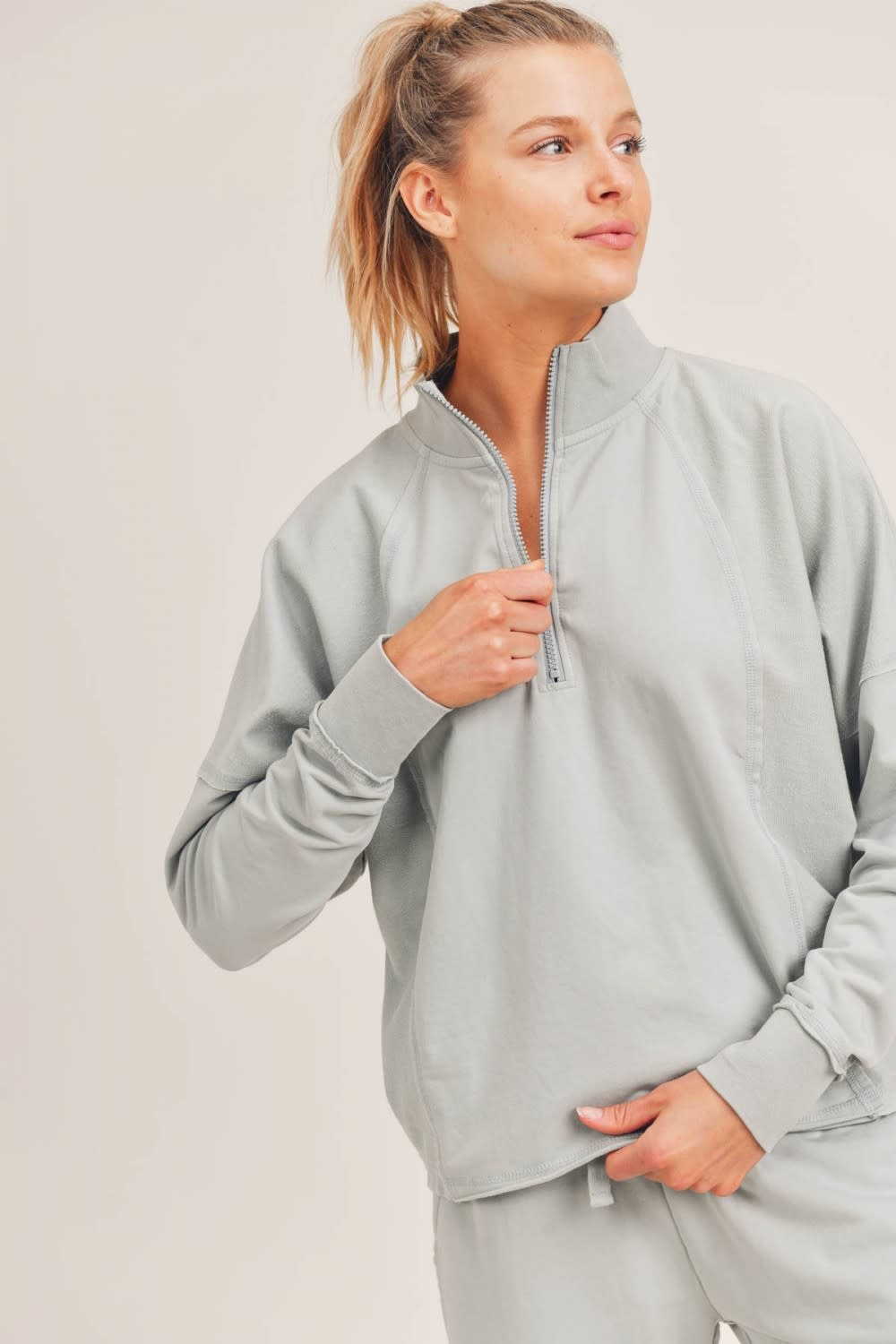 MONO B STAY ALL DAY BOXY ZIP PULLOVER