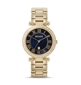 ESCAPE LADIES SERENITY 3 HAND DATE SS WATCH GOLD W/STONES
