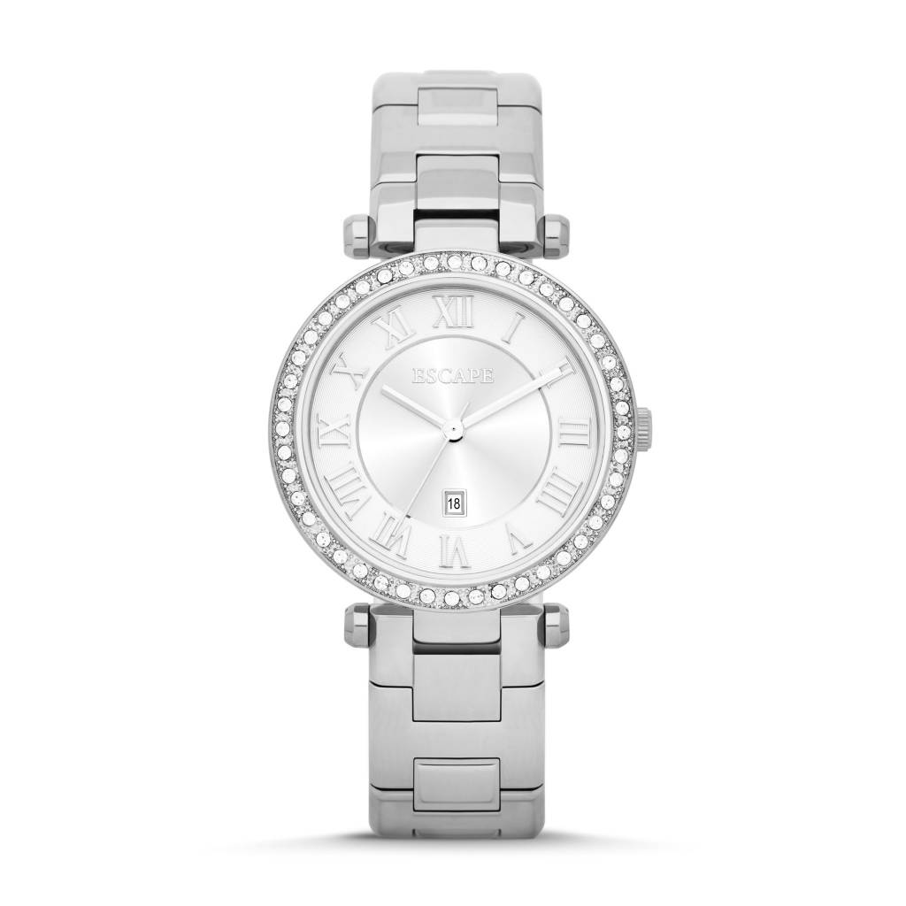 ESCAPE LADIES SERENITY 3 HAND DATE SS WATCH W/STONES