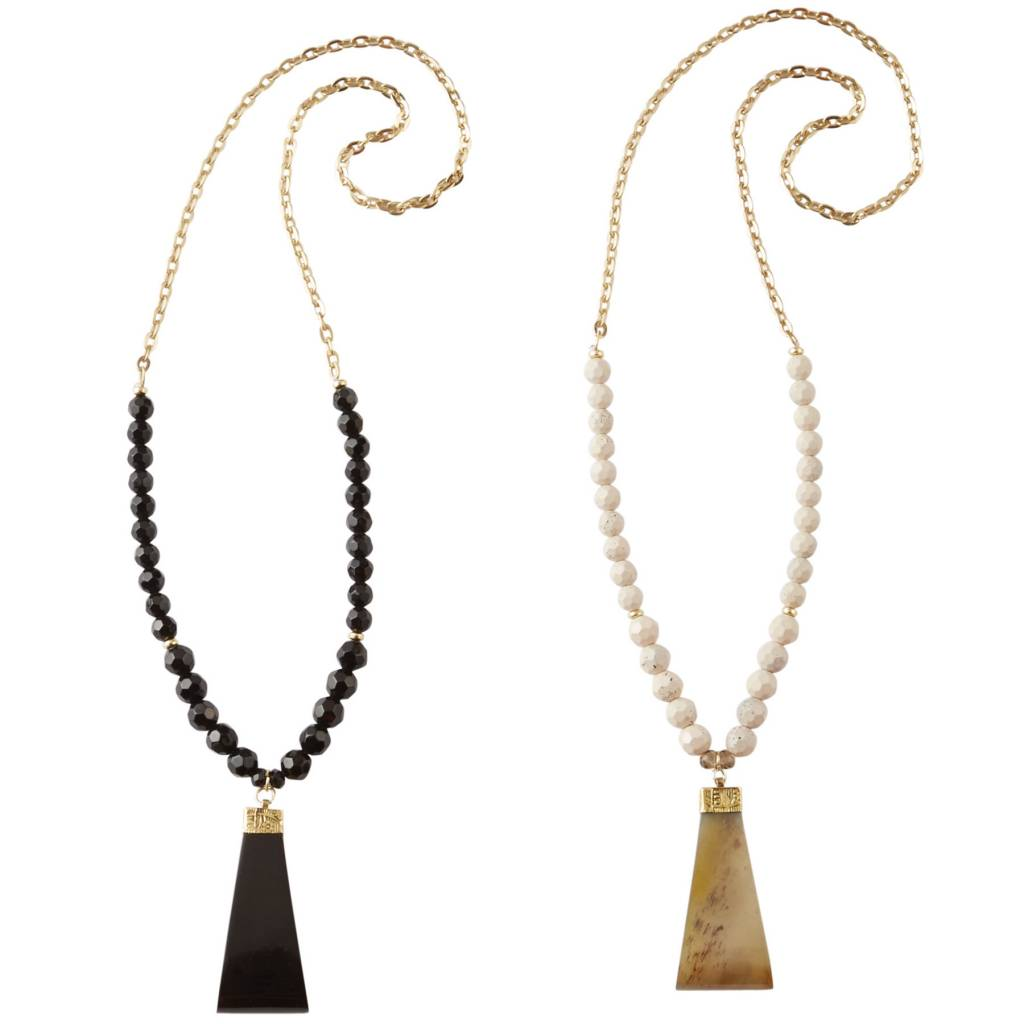 MUD PIE BEADED HORN NECKLACE