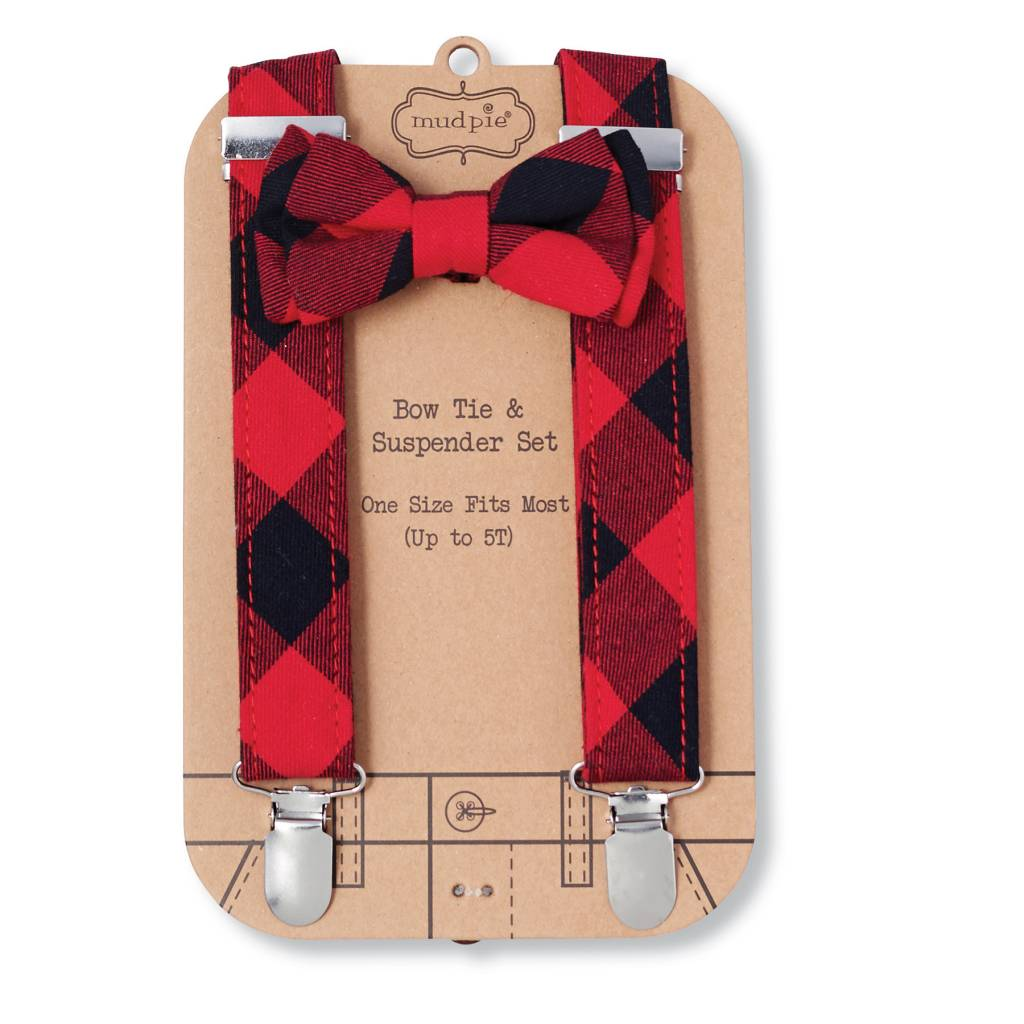 MUD PIE BUFFALO CHECK BOW TIE AND SUSPENDER SET