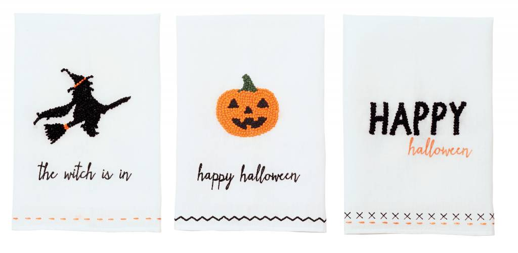 MUD PIE HALLOWEEN FRENCH KNOT TOWELS