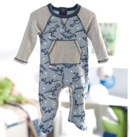 MUD PIE DINOSAUR RAGLAN FOOTED SLEEPER