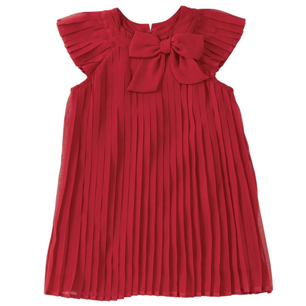 MUD PIE RED CLARET PLEATED DRESS-BABY