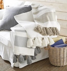 MUD PIE WOVEN TASSEL THROW BLANKET