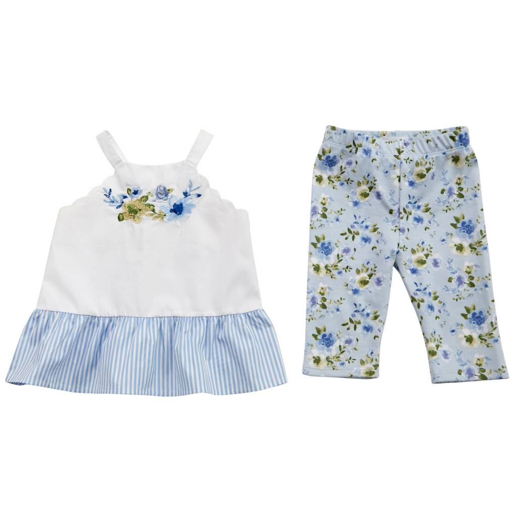 MUD PIE EMBROIDERED FLORAL TUNIC & CAPRI SET