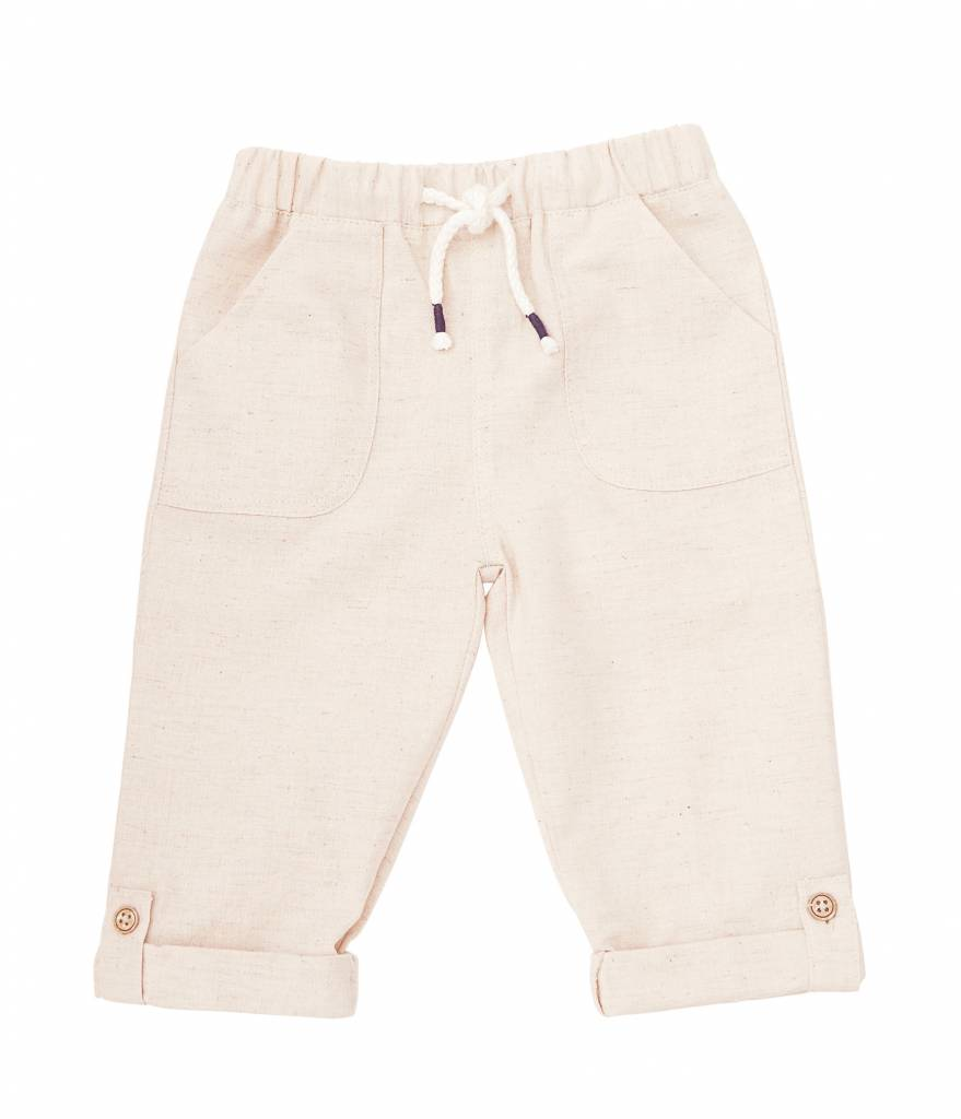 MUD PIE KHAKI FAUX LINEN PULL-ON PANTS