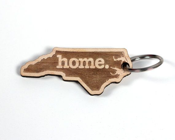 NC HOME WOOD KEY CHAIN