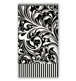 MICHEL DESIGN WORKS BLACK FLORENTINE HOSTESS NAPKIN