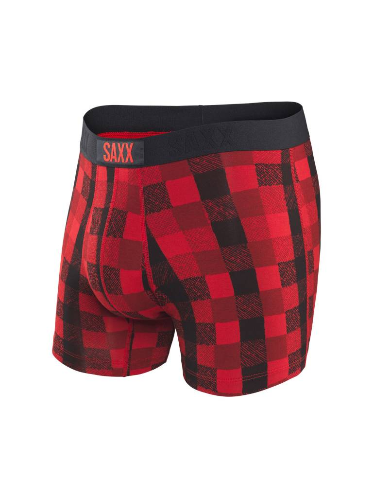 SAXX VIBE BOXER BRIEF- RED LUMBERJACK PLAID
