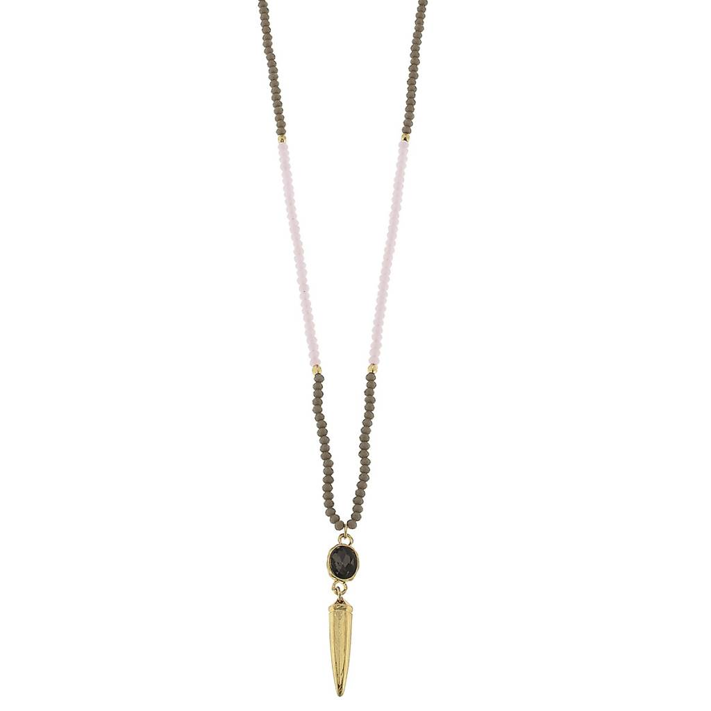CANVAS BEADED GLASS RHINESTONE SPEAR NECKLACE PNK/GRY