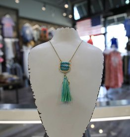 "CANVAS BEADED ""U"" TASSEL PENDANT NECKLACE"