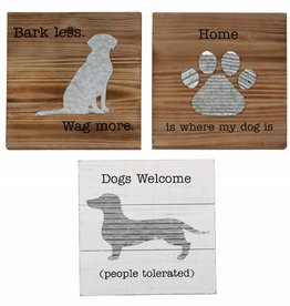 MUD PIE WOOD & TIN DOG PLAQUES