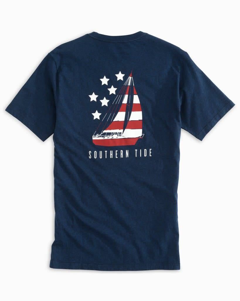SOUTHERN TIDE PATRIOTIC SAIL HEATHERED TEE