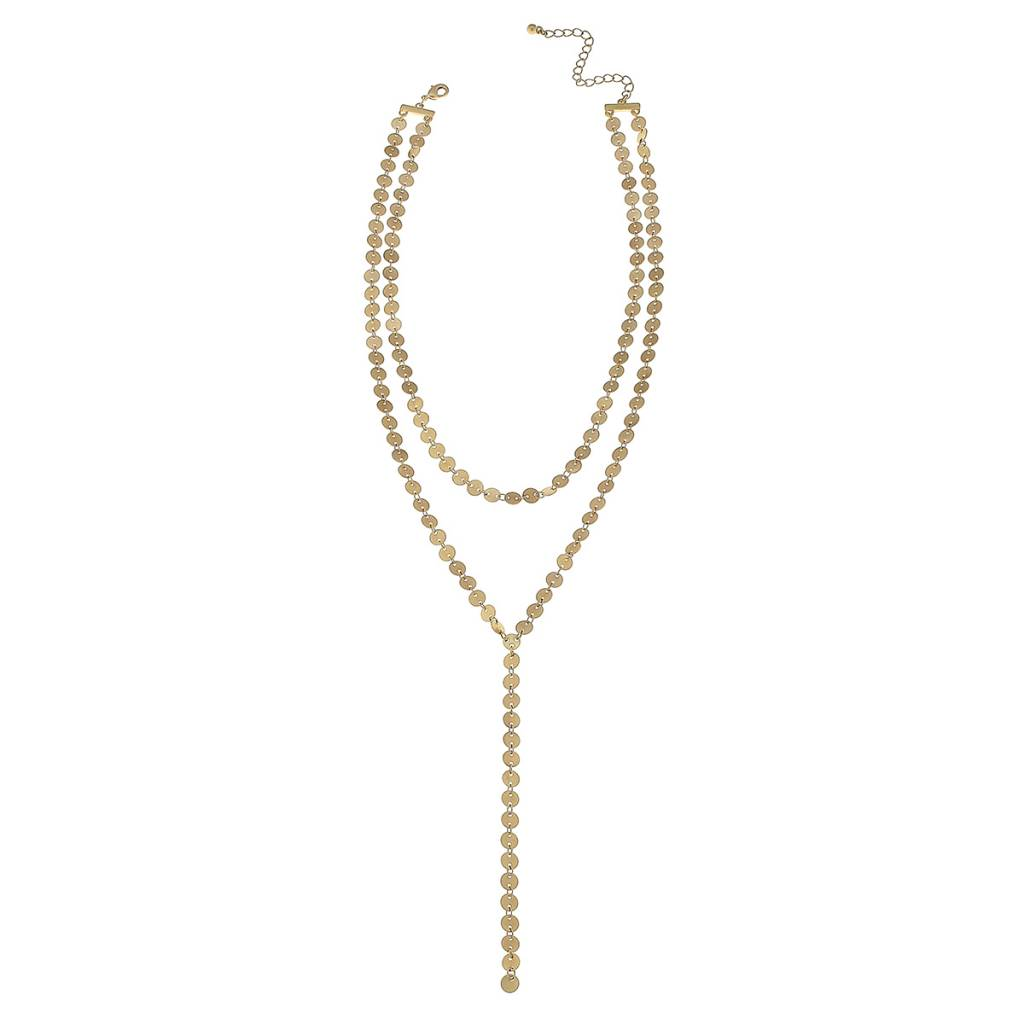 CANVAS 2-ROW LINKED DISC Y NECKLACE