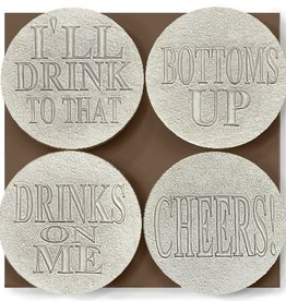 DRINK SAYINGS COASTER 4-PK