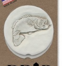BASS FISH CAR COASTERS 2-PK