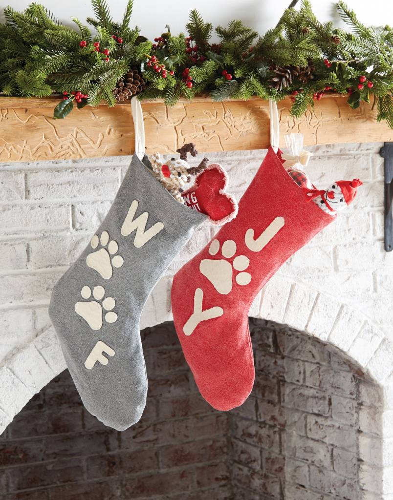 MUD PIE WASHED CANVAS PET STOCKING