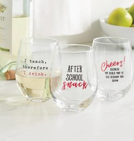 MUD PIE TEACHER STEMLESS WINE GLASS