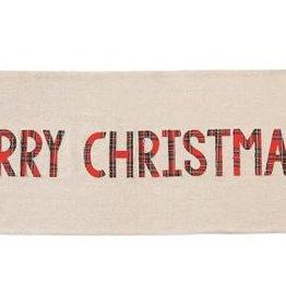 MUD PIE MERRY CHRISTMAS CHAMBRAY & TARTAN TABLE RUNNER