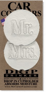 MR & MRS CAR COASTERS 2-PK