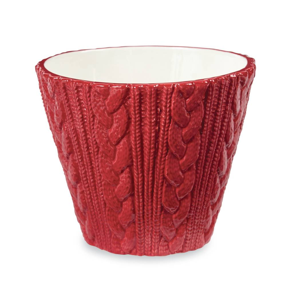 MUD PIE CABLE KNIT POT