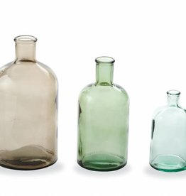 MUD PIE TAUPE & GREEN BOTTLENECK VASES