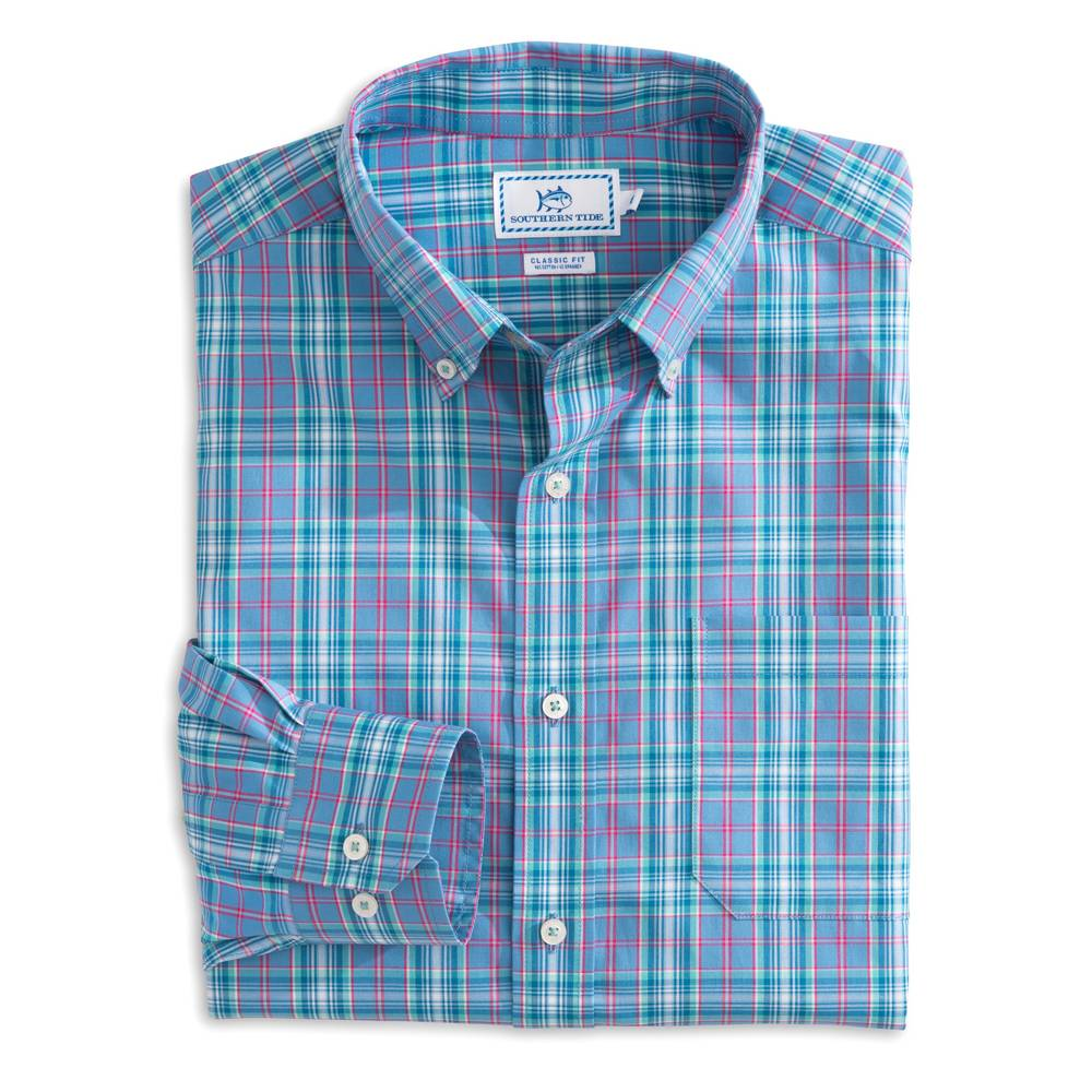SOUTHERN TIDE SOUTH STATION PLAID SPORTSHIRT
