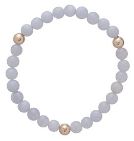 ENEWTON PROMISE BRACELET WITH GOLD BEADS BLUE ICE AGATE