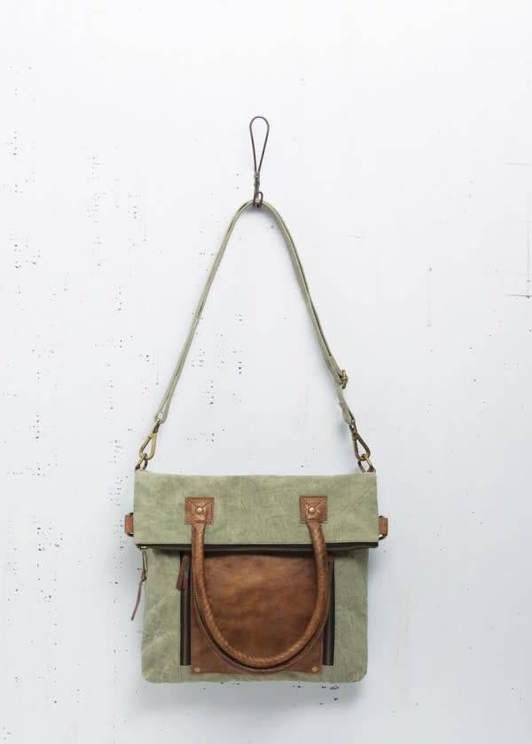 MONA B FOLD OVER CONVERTIBLE TOTE SAGE