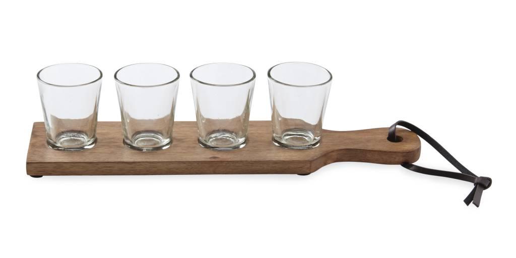 MUD PIE SHOT GLASS PADDLE BOARD SET