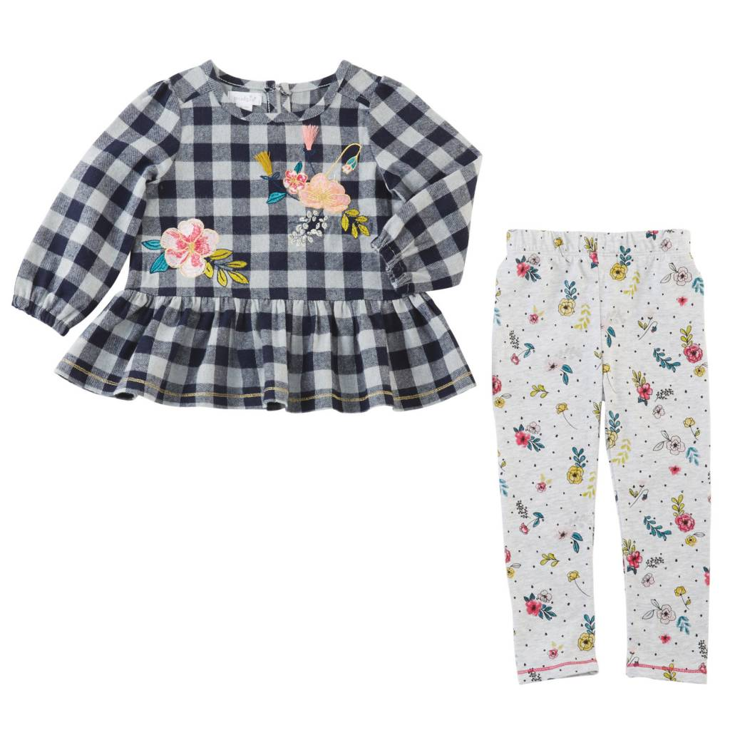 MUD PIE CHECKED FLORAL TUNIC & LEGGING SET