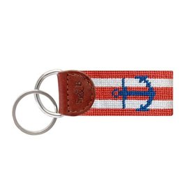 SMATHERS & BRANSON STRIPED ANCHOR NEEDLEPOINT KEY FOB